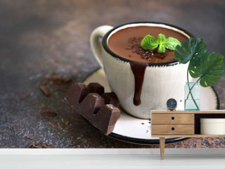 Portion of homemade mint hot chocolate in a cup.