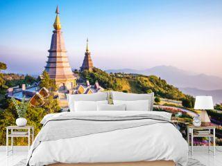 Doi Inthanon landmark twin pagodas at Inthanon mountain near Chiang Mai, Thailand.