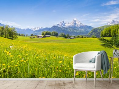 Idyllic landscape in the Alps with blooming meadows in summer