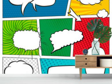 Comic book page template with halftone effect and speech bubbles. Background in pop-art style. Vector illustration