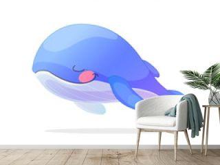 Toons series cartoon animals: sleeping blue whale