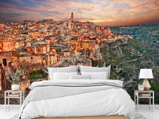 Matera, Basilicata, Italy: landscape at dawn of the old town