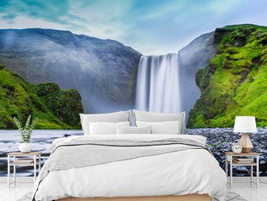 Skogafoss waterfall in mystic twilight, Iceland