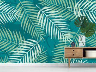 Fashion seamless vector pattern. Tropical leaf. Hawai. Fabric. Summer time
