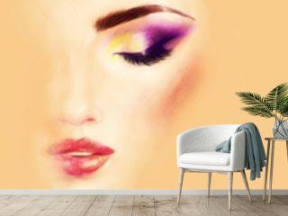 Make up. Beautiful woman face. Fashion illustration