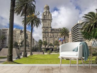 Uruguay - Montevideo - Centrally located Salvo Palace (Palacio Salvo) seen from Plaza Independencia (Independence square)