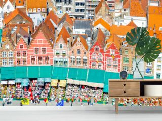 View on Historical buildings on Market Square in Belgium