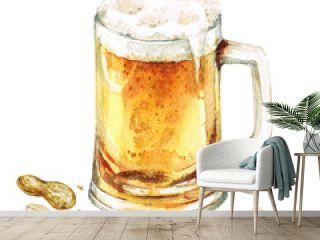Beer mug. Watercolor Illustration.