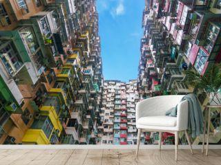 Colorful crowded flat in hong kong china