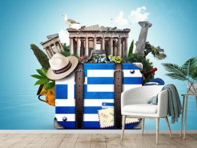 Greece, vintage suitcase with Greece landmarks