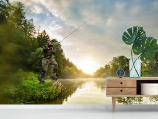 Sport fisherman hunting fish. Outdoor fishing in river