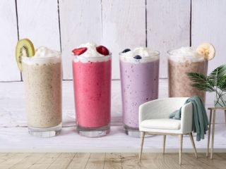 Milk shake with berries