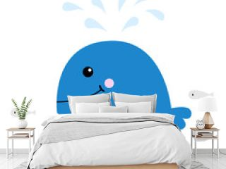 Blue whale with water fountain. School of fish herring Sea ocean life. Cute cartoon character Eyes, tail, fin. Smiling face. Kids baby animal collection. Flat design White background