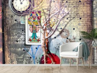 Haunted and magic tree in the dark landscape with mysterious draws,tarots and scraps