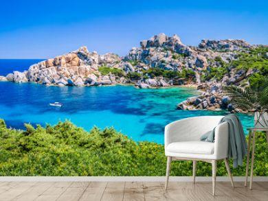 Bizarre granite rock and azure bay in Capo Testa, Sardinia, Italy