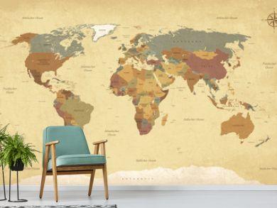Weltkarte auf Deutsch - Vintage retro stil - Vektorisiert texte : länder, hauptstädte, inseln, meere...