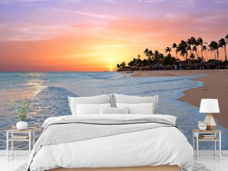 Druif beach at sunset on Aruba island in the Caribbean sea
