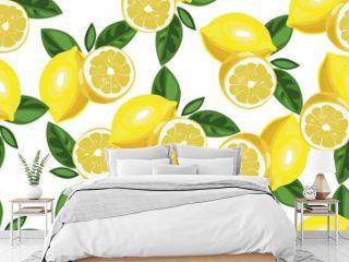 Nice lemon background. Vector hand drawn seamless pattern on white