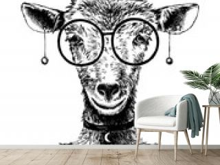 Hand drawn goat hipster