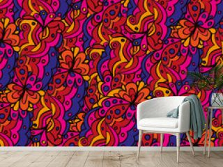 Seamless abstract hand-drawn waves pattern, wavy background.Gorgeous seamless floral background
