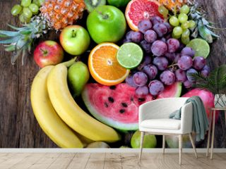 Fresh organic fruits background. Healthy eating concept. Top view.