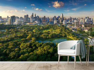 Lumpini park and Bangkok city building view from roof top bar on hotel, Bangkok, Thailand