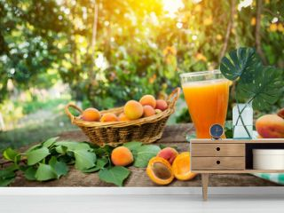 Apricots with apricot juice in glass