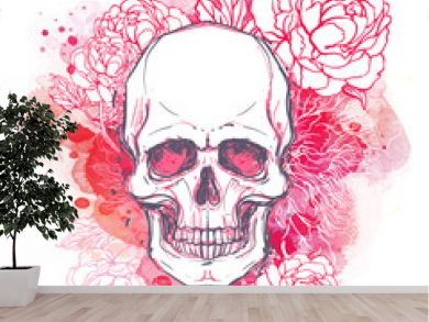 Human skull with peony, rose and poppy flowers on watercolor background.Tattoo design element. Vector illustration.