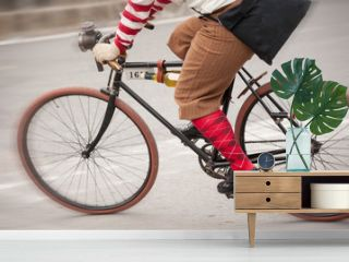 Pedaling at full speed on a vintage bicycle