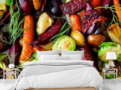 Full background of roasted colorful autumn vegetables, above view