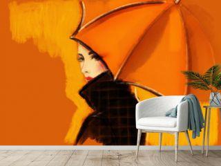 woman with umbrella. fashion illustration