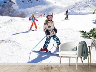 kids on alpin ski resort