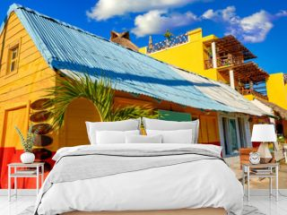 Holbox Island colorful Caribbean houses Mexico