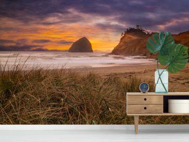 Cape Kiwanda in Pacific City Beach at Sunset along Oregon coast USA America