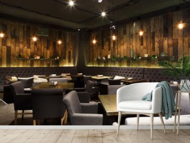 Cozy wooden interior of restaurant, copy space