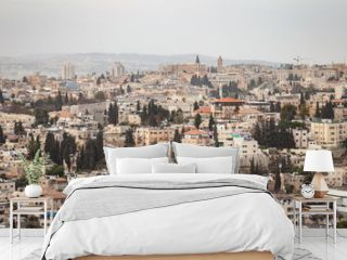Skyline cityscape of Jerusalem, Israel in the Middle East with many buildings, old historic architecture and landmarks. / Jerusalem Skyline Cityscape