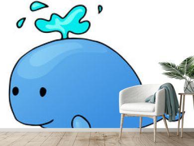 whale cartoon isolated