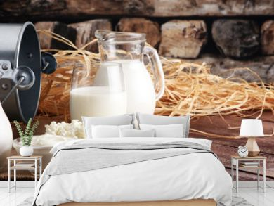 milk products. tasty healthy dairy products on a table on. sour cream in a bowl, cottage cheese bowl, cream in a a bank and milk jar, glass bottle and in a glass