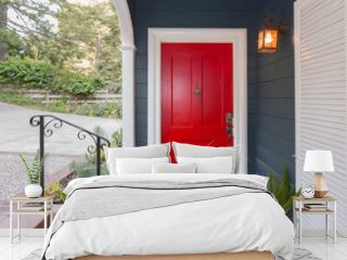 Red Entry Door / Front Door with single cylinder entrance electronic handle-set.