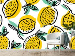 Lemon seamless pattern vector illustration. Summer design