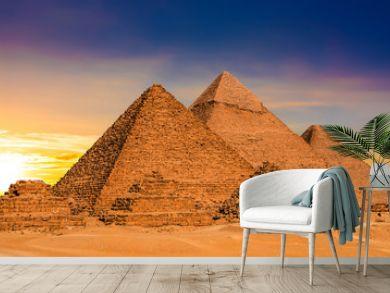 Great Pyramids of Giza, Egypt, at sunset