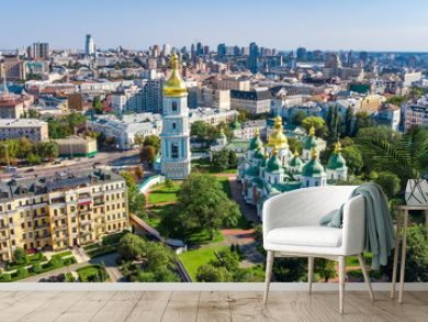 Aerial top view of St Sophia cathedral and Kiev city skyline from above, Kyiv cityscape, capital of Ukraine