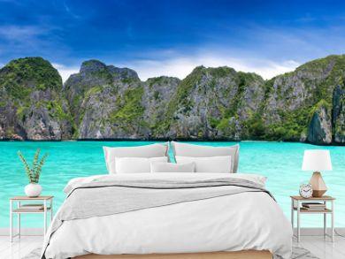 Maya bay in the Phiphi leh island at Andaman sea wide landscape.