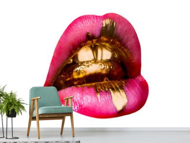 Golden glamorous tongue in sexy female mouth. Brilliant shiny golden teeth, pink lipstick and drop of tenderness. Luxury background