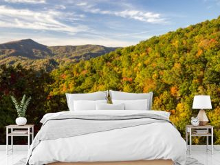 Smoky Mountain Autumn Background. Great Smoky Mountains during autumn color with Mt. Leconte in the background. Gatlinburg, Tennessee.