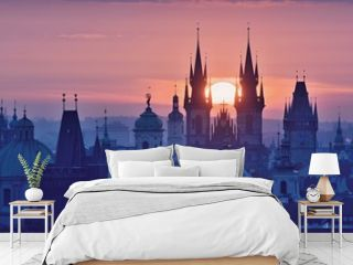 Sun disk between spires of the Prague Old Town Church of Our Lady before Tyn