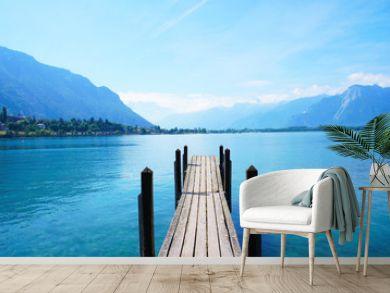 Old boat dock near Chateau de Chillon, Montreux, Switzerland at leman geneva lake