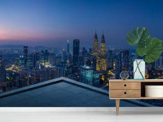 Open space balcony with Kuala Lumpur cityscape skyline view  . Night scene .
