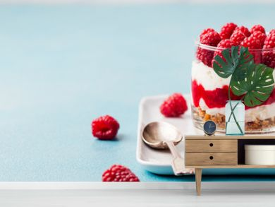 Raspberry dessert, cheesecake, trifle, mouse in a glass. Copy space