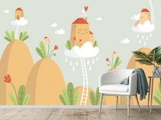 Kids graphic illustration. Using for print on the wall, pillow, decoration kids interior, baby wear and shirts, greeting card, vector and other
